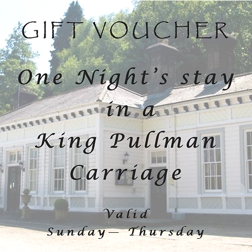 One night's stay midweek in a King Pullman Carriage Room