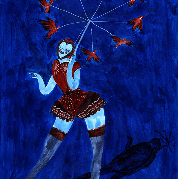 La femme au parapluie-oiseau / The bird umbrella woman