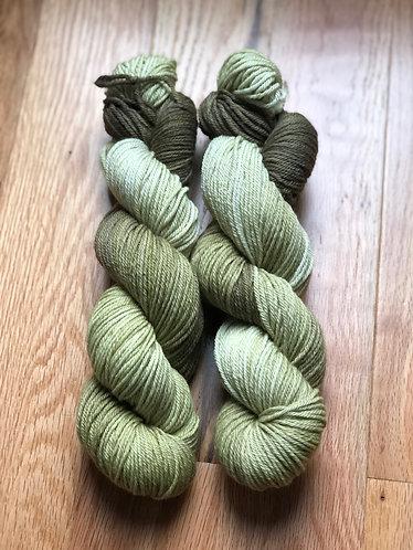 Lichen, Dip Dyed Worsted Weight Merino Yarn