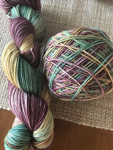 Serenity, Gold Sparkle Sock Weight Yarn, Hand Dyed