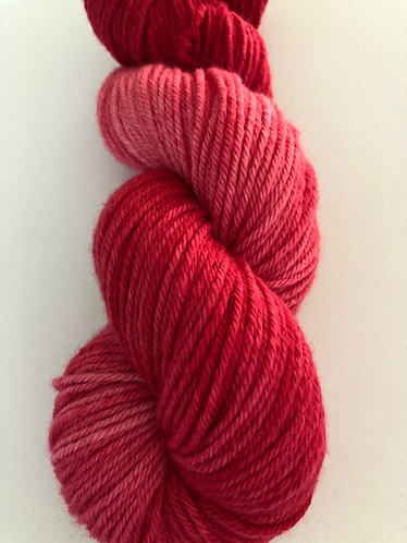 Red Drink, Dip Dyed Worsted Weight Merino Yarn