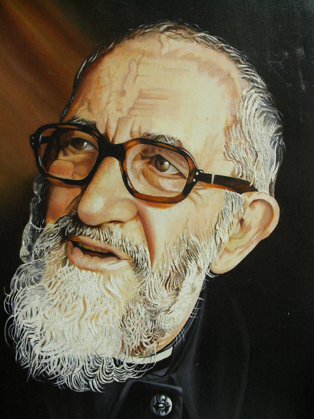 Portrait de l'Abbé Pierre offert à Emmaüs Réunion (Fernand PREVERAL)