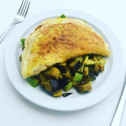 #latelunch Three organic, Gran Canarian egg omelet, with diced and fried aubergine and courgette, an