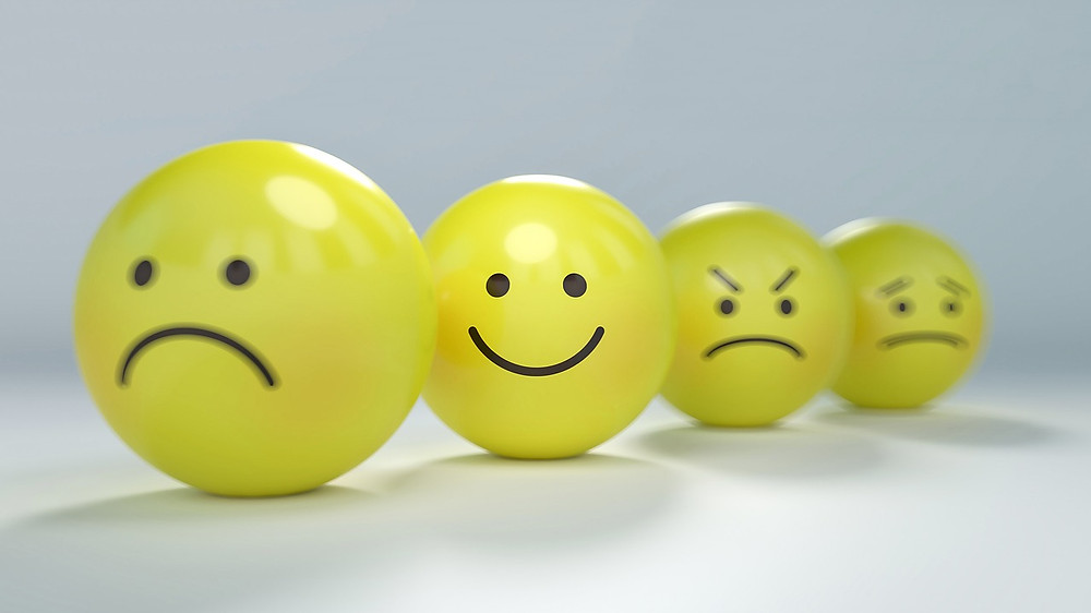 Happy Face. Sad Face. Angry Face. Calm Face. Cute Yellow Faces Expressing Different Emotions.