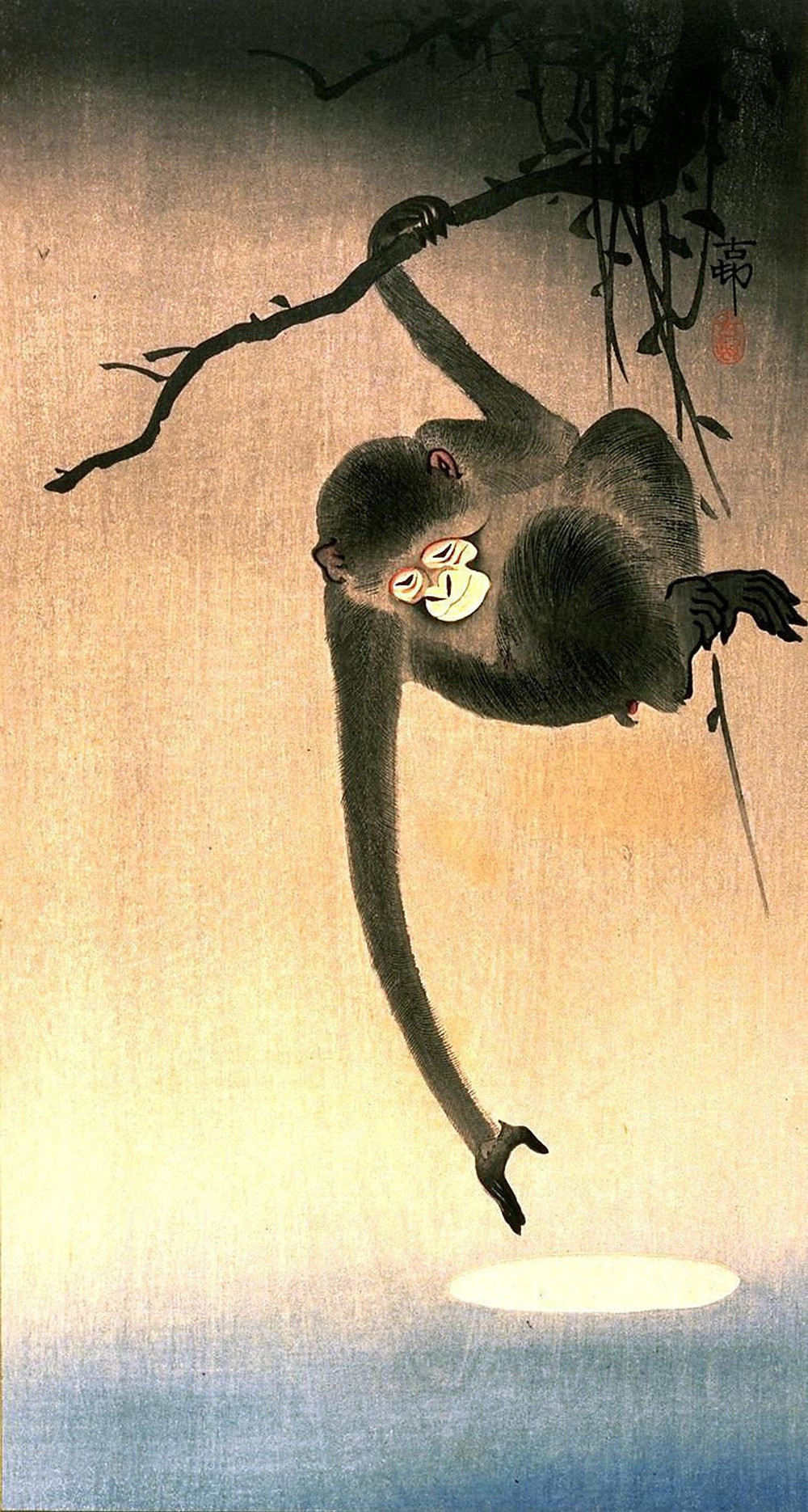 Painting of Ohara Koson's Monkey Reaching For The Moon