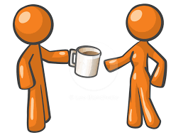 Two orange animated characters drinking coffee together, learning how to connect in a calm state of mind.