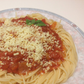 pasta with a simple tomato-onion sauce