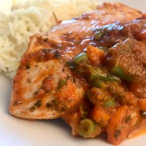 chicken in tomato, herb & orange sauce