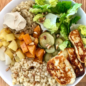 salad with grains & roast veggies