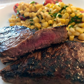 spicy beef loin with grilled corn