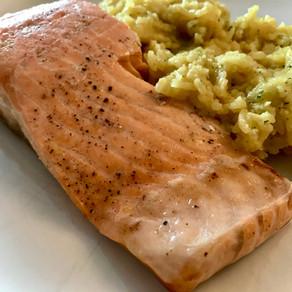 simple salmon steak - with lemon juice & olive oil