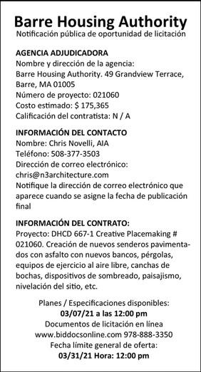 Barre Housing Authority_Bid Ad_03-18-21