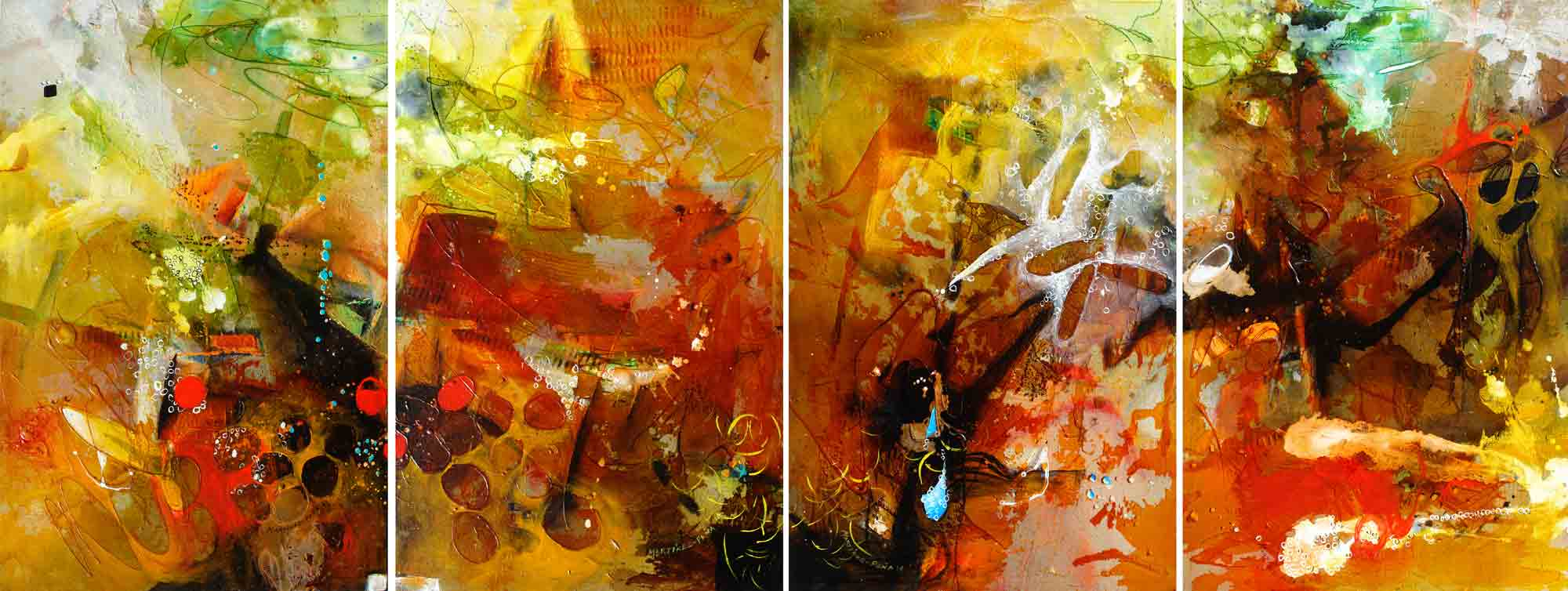 Corales VIII to XI-Polyptych (SOLD)