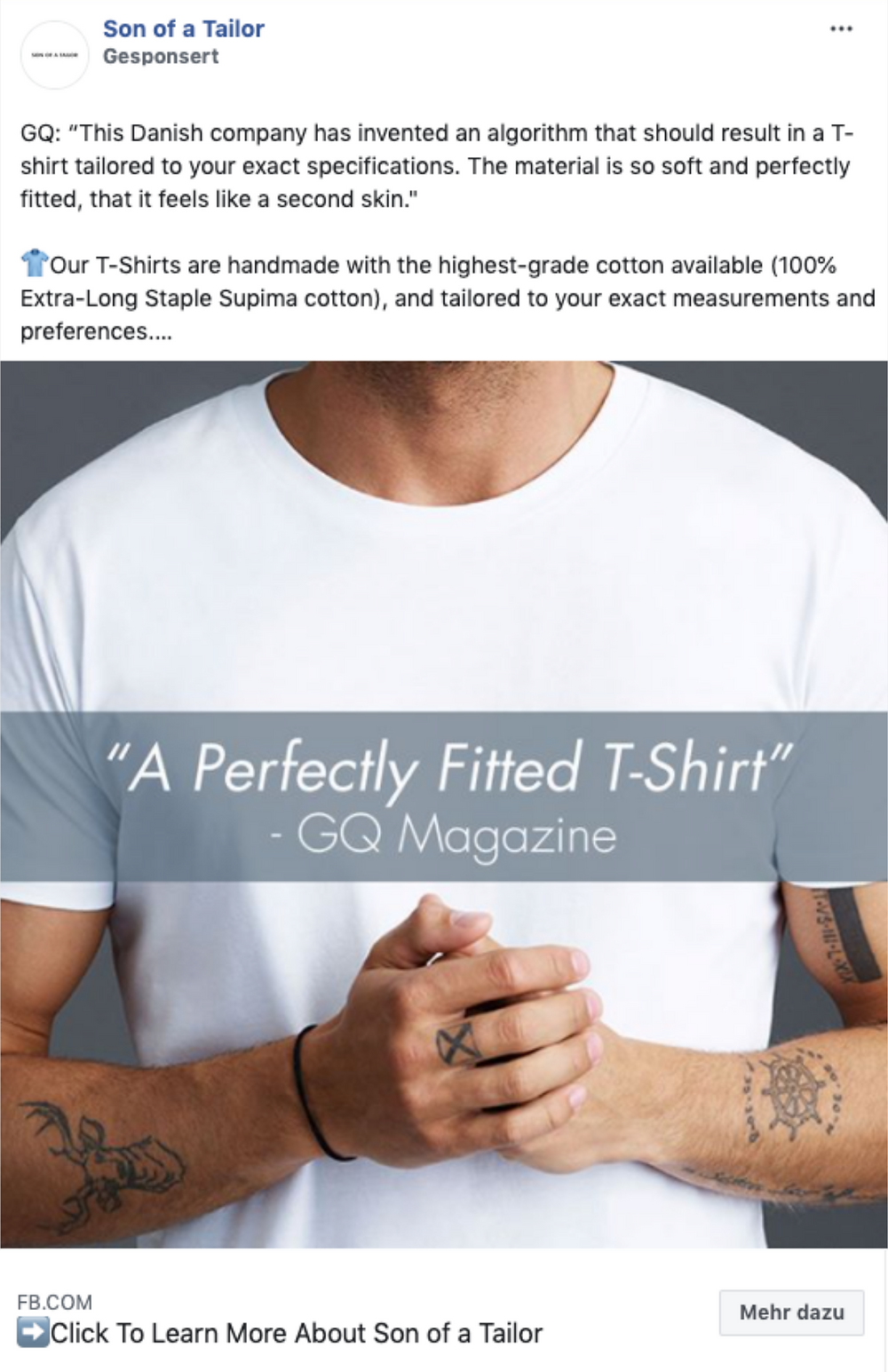 Son of a Tailor - Facebook Ad