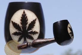 Leaf Cannabis Logo Coconut Seed-wood Pipe