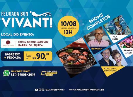 Feijoada Bon Vivant! acontece no dia 10 de Agosto com shows de Reinaldo, Vila Izabel, Banda Canta, C
