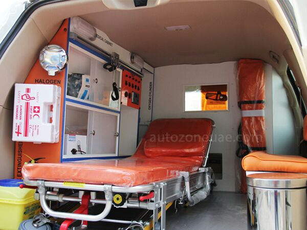 Inside a well equipped ambulance