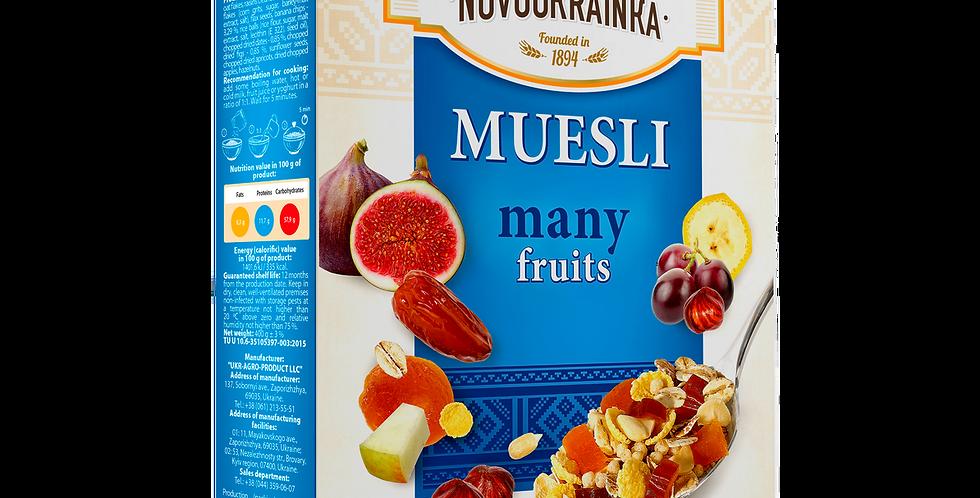 """Мюслі """"Багато фруктів"""" ТМ Новоукраїнка 0,4 кг"""