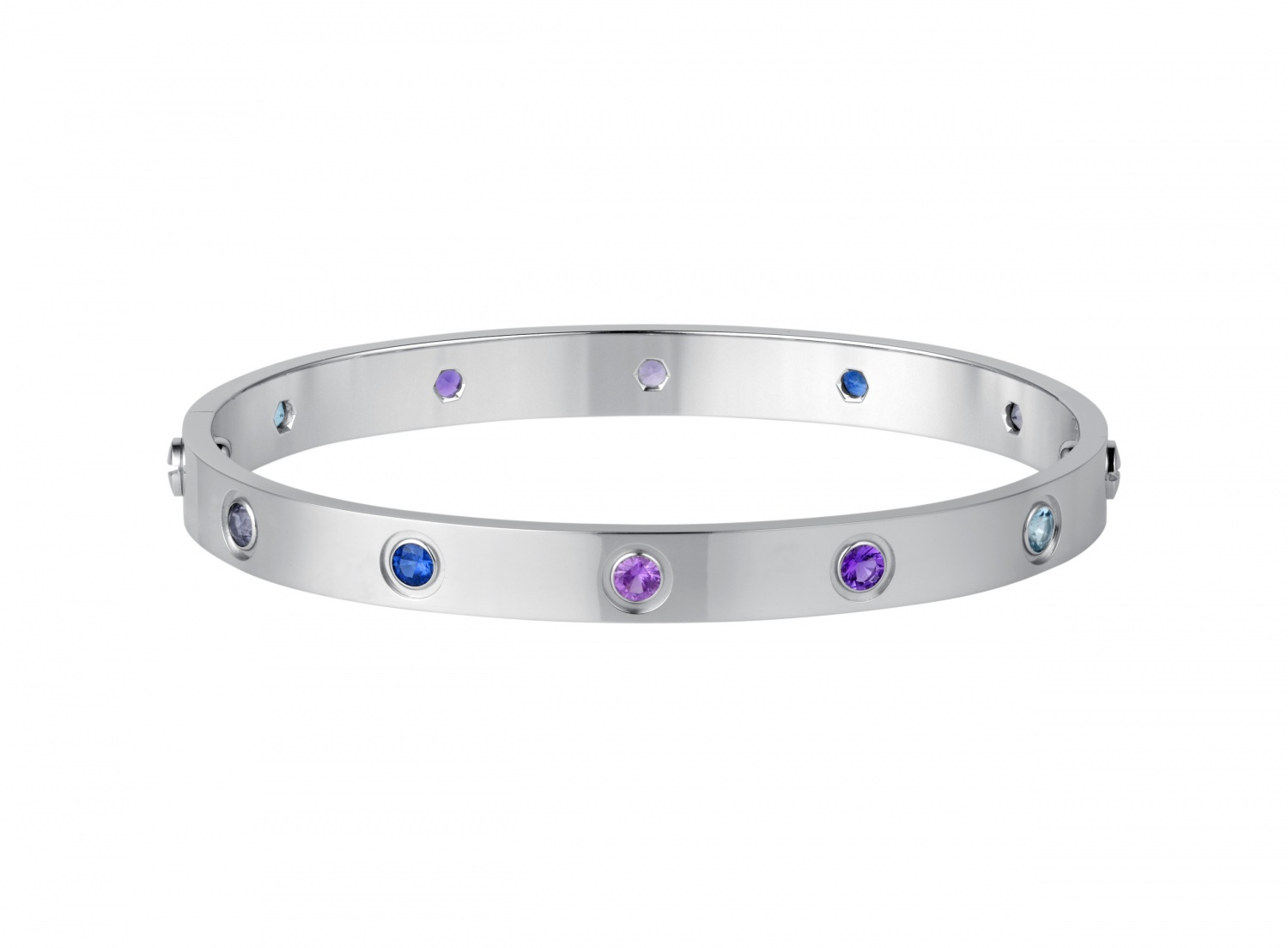 Cartier-Bracelet-from-the-Love-Collection-White-gold-blue-and-pink-sapphires-purple-spinels-amethysts-aquamarines
