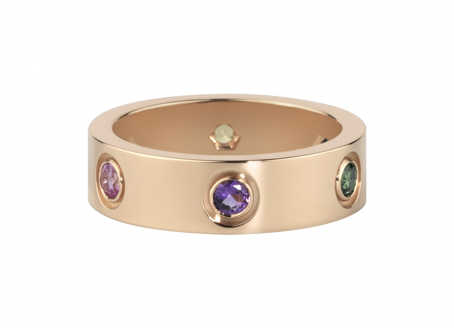 Cartier-Ring-from-the-Love-collection-Pink-gold-set-with-pink-yellow-and-blue-sapphires-green-and-orange-garnets-and-an-amethyst