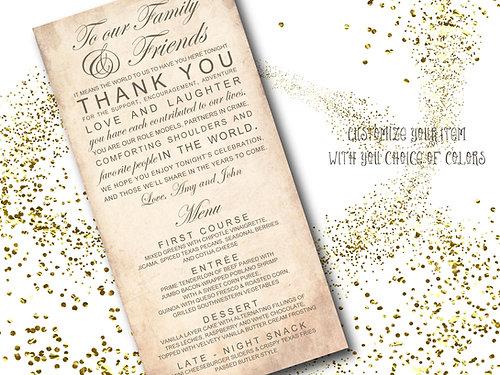 Vintage Wedding Program And Thank You