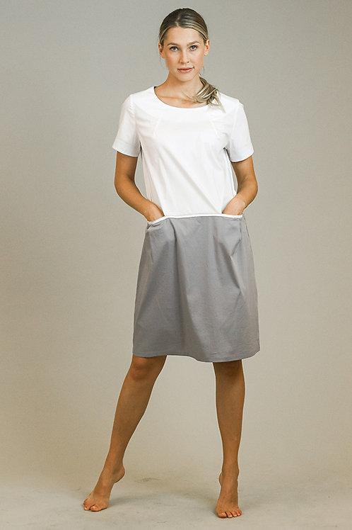 Kleid aus Baumwolle, zweifärbig