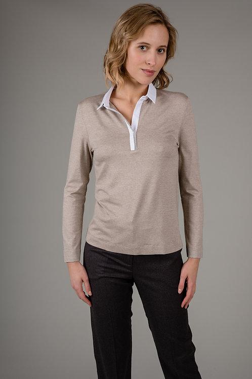 Jersey-Polo mit Blusenkragen