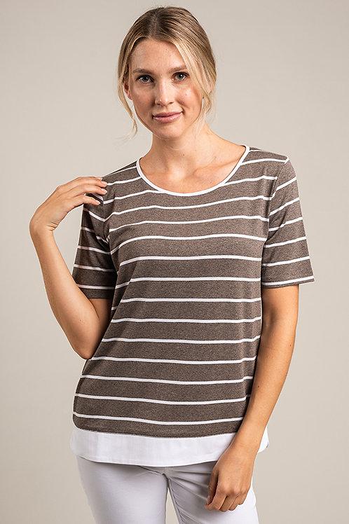 T-Shirt gestreift mit Bund aus Baumwolle