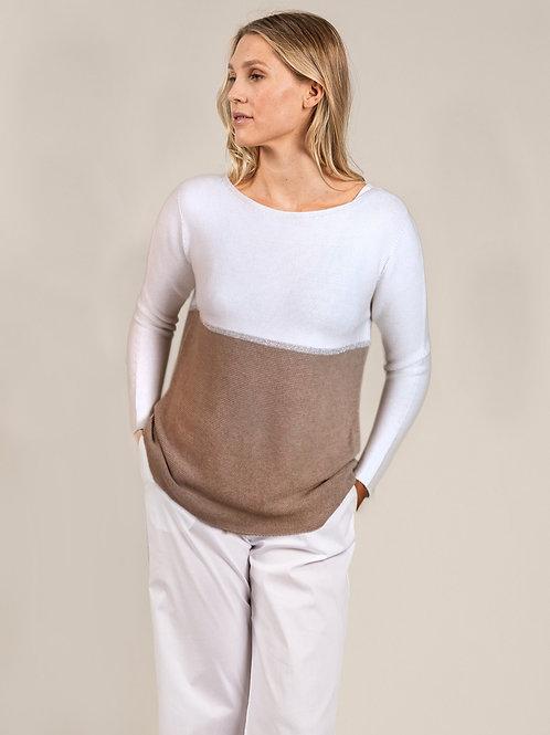 Zweifärbiger Pullover aus Baumwolle