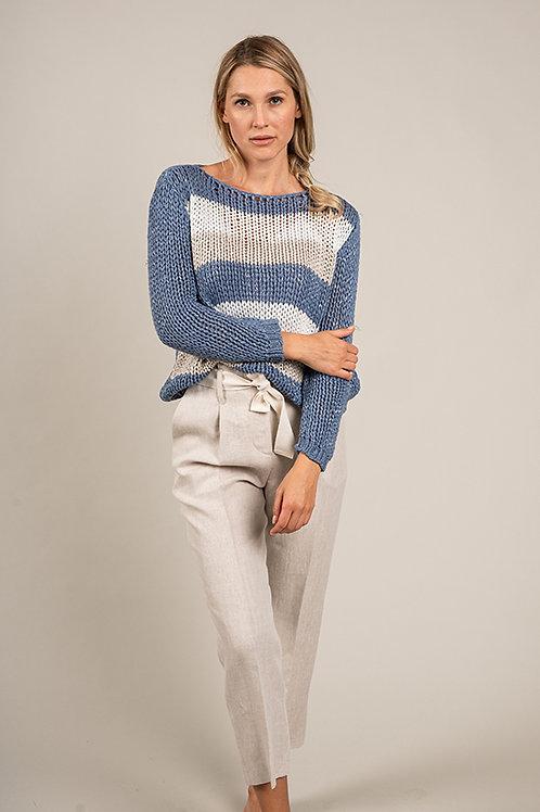 Pullover aus Baumwollbändern mit Lurex