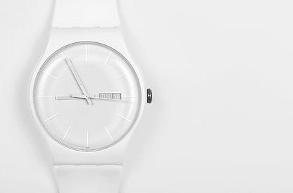 White watch on white background closeup