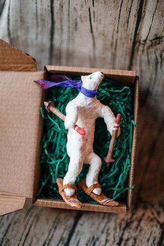 """Елочная игрушка из ваты """"Мишка на лыжах"""""""