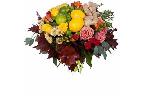 """Букет с цветами и фруктами """"Иммунитет"""""""
