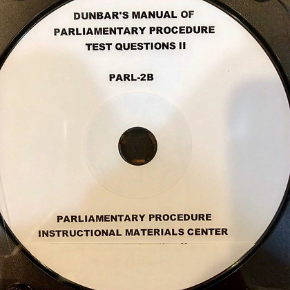 Dunbar's Manual of Parliamentary Procedure Test Questions #2