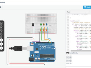 Controlling LEDs using IR Remote and Arduino UNO on TinkerCAD