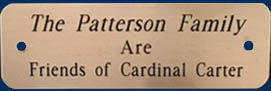 "Sample of plaque ""Friends of Cardinal Carter"""