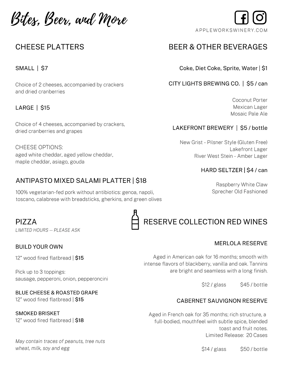 Wine List Menu Page 2