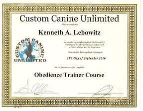 Obedience trainer course certificate
