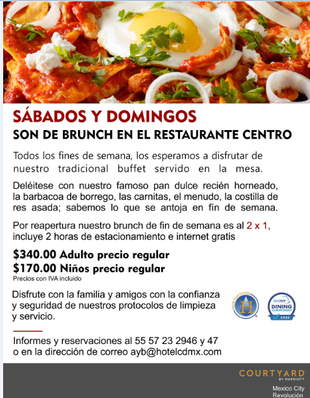 Los fines de semana son de brunch en el Courtyard By Marriott Mexico City Revolución.