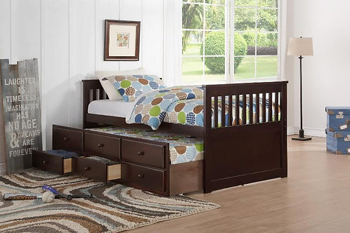 HH9000 FULL CAPTAIN BED W/TRUNDLE AND DRAWERS UNIT