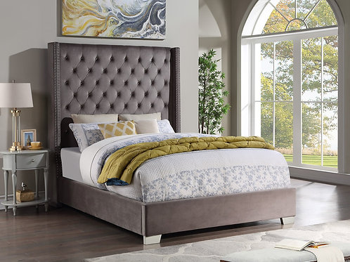 HH329 6ft Bed - Queen & King Grey Velvet
