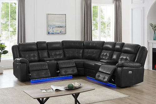 L10003P Power Reclining Sectional (Black)
