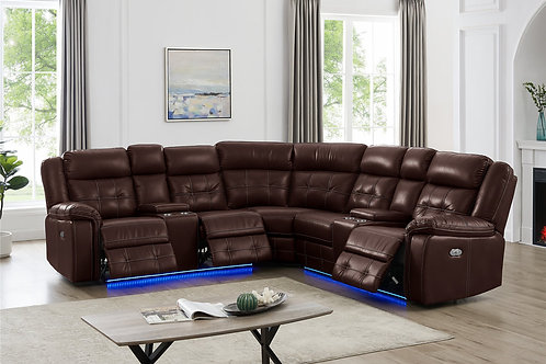 L10001P - Power Reclining Sectional (Brown)