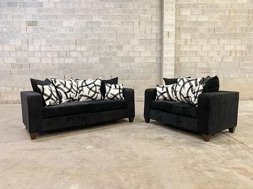 110 - Black Sofa & Loveseat