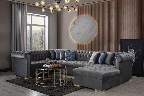 Luxen Velvet Gray RAF Chaise Sectional