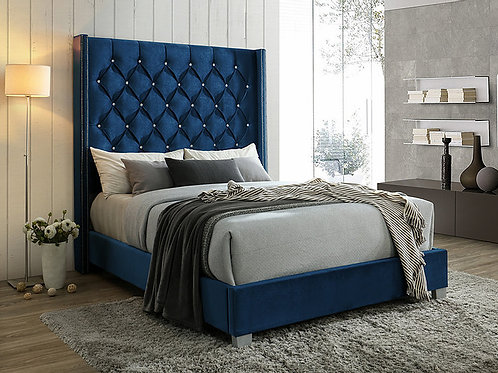 B9840 Beverly Navy Fabric Queen/King Bed