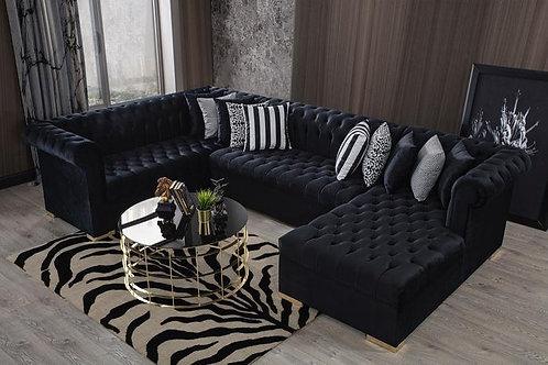Luxen Velvet Black RAF Chaise Sectional