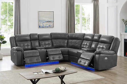 L10002P - Power Reclining Sectional (Gray)