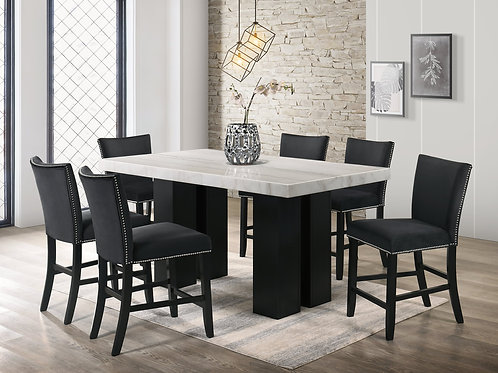Finley Black - Counter Height Table & 6 Chairs