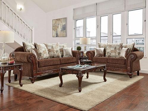 4620 Chocolate Sofa and Loveseat